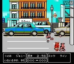 In-game screen of the game Nekketsu! Street Basket - Ganbare Dunk Heroes on Nintendo NES