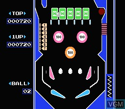 In-game screen of the game Pinball on Nintendo NES