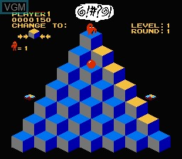 In-game screen of the game Q-bert on Nintendo NES
