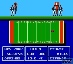 In-game screen of the game Quarter Back Scramble on Nintendo NES
