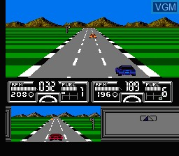 In-game screen of the game Race America on Nintendo NES