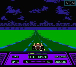 In-game screen of the game Rad Racer on Nintendo NES