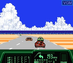 In-game screen of the game Rad Racer 2 on Nintendo NES