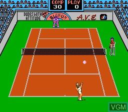 In-game screen of the game Rad Racket - Deluxe Tennis II on Nintendo NES
