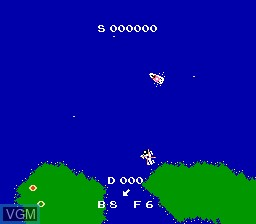 In-game screen of the game Raid on Bungeling Bay on Nintendo NES