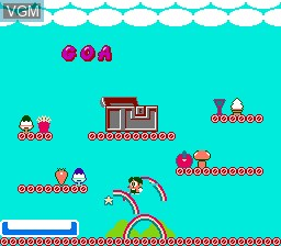 In-game screen of the game Rainbow Islands - The Story of Bubble Bobble 2 on Nintendo NES