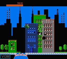 In-game screen of the game Rampage on Nintendo NES