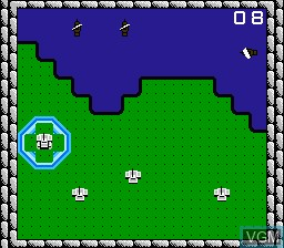 In-game screen of the game Rampart on Nintendo NES