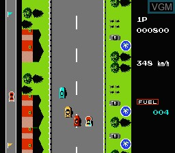 In-game screen of the game Road Fighter on Nintendo NES