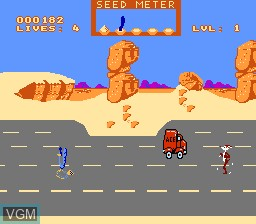 In-game screen of the game Road Runner on Nintendo NES