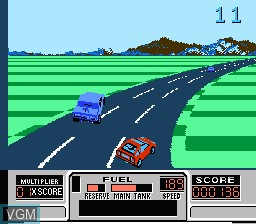 In-game screen of the game RoadBlasters on Nintendo NES