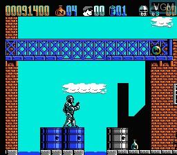 In-game screen of the game RoboCop 2 on Nintendo NES