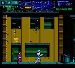 In-game screen of the game RoboCop 3 on Nintendo NES