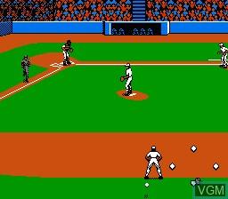 In-game screen of the game Roger Clemens' MVP Baseball on Nintendo NES