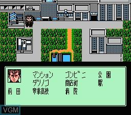 In-game screen of the game Rokudenashi Blues on Nintendo NES