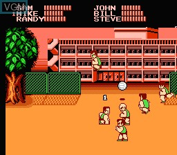 In-game screen of the game Super Dodge Ball on Nintendo NES