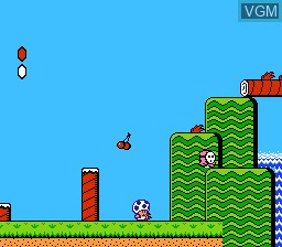 In-game screen of the game Super Mario Bros. 2 on Nintendo NES