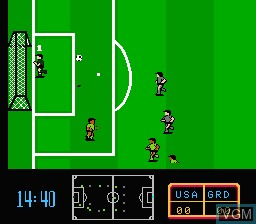 In-game screen of the game Ultimate League Soccer on Nintendo NES