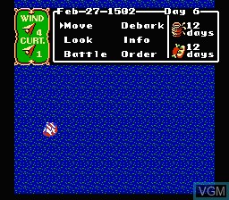 In-game screen of the game Uncharted Waters on Nintendo NES