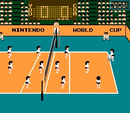 In-game screen of the game Volleyball on Nintendo NES