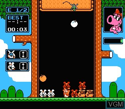In-game screen of the game Wario's Woods on Nintendo NES