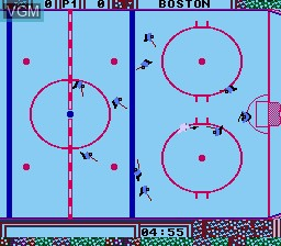 In-game screen of the game Wayne Gretzky Hockey on Nintendo NES