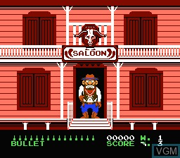 In-game screen of the game Wild Gunman on Nintendo NES