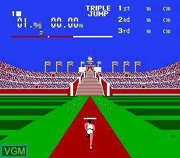 In-game screen of the game World Class Track Meet on Nintendo NES
