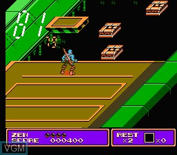 In-game screen of the game Zen - Intergalactic Ninja on Nintendo NES