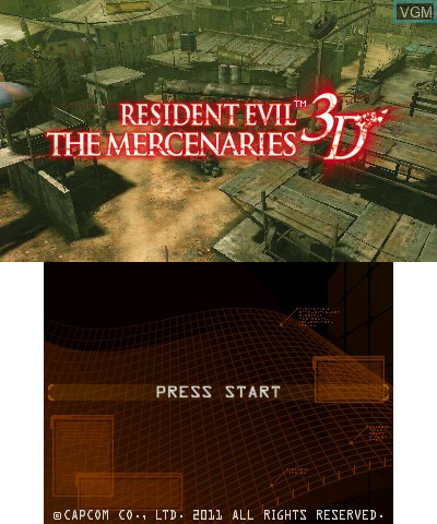 Title screen of the game Resident Evil - The Mercenaries 3D on Nintendo 3DS