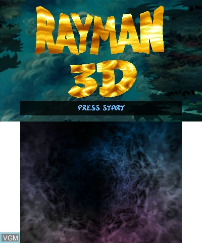 Title screen of the game Rayman 3D on Nintendo 3DS