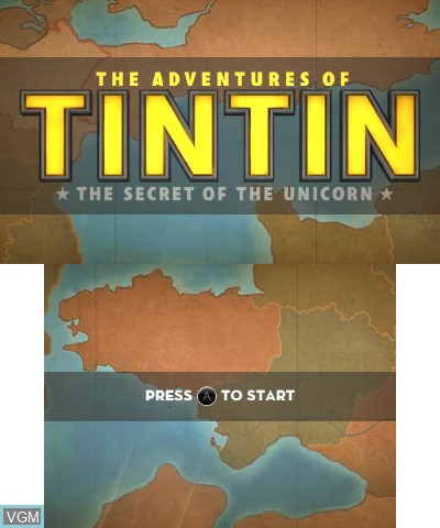 Title screen of the game Adventures of Tintin, The - The Secret of the Unicorn on Nintendo 3DS