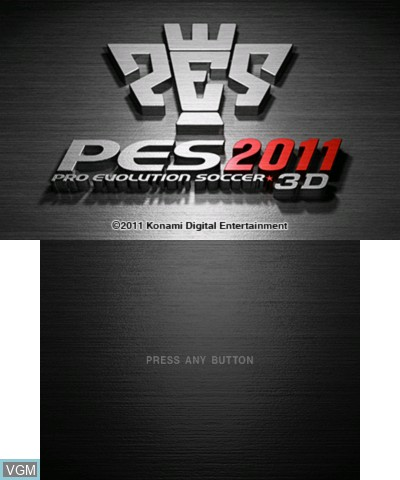 Title screen of the game Pro Evolution Soccer 2011 3D on Nintendo 3DS