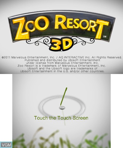 Title screen of the game Zoo Resort 3D on Nintendo 3DS