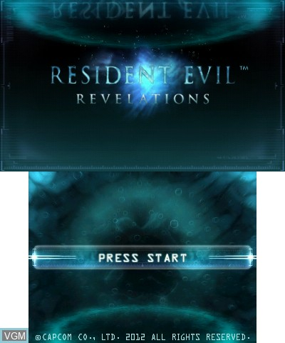 Title screen of the game Resident Evil - Revelations on Nintendo 3DS