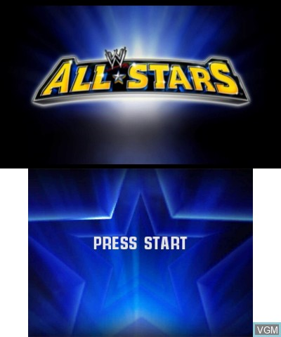 Title screen of the game WWE All Stars on Nintendo 3DS
