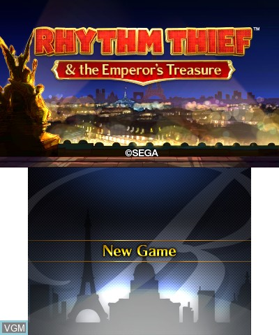 Title screen of the game Rhythm Thief & the Emperor's Treasure on Nintendo 3DS