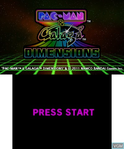 Title screen of the game Pac-Man & Galaga Dimensions on Nintendo 3DS
