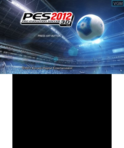 Title screen of the game Pro Evolution Soccer 2012 3D on Nintendo 3DS