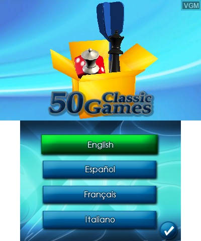 Title screen of the game 50 Classic Games on Nintendo 3DS