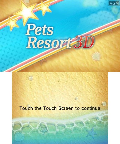 Title screen of the game Pets Paradise Resort 3D on Nintendo 3DS