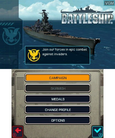 Title screen of the game Battleship on Nintendo 3DS