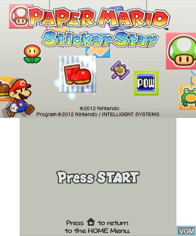 Title screen of the game Paper Mario - Sticker Star on Nintendo 3DS
