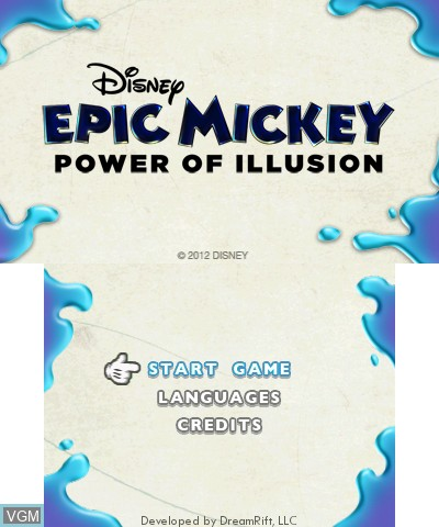 Title screen of the game Epic Mickey - The Power of Illusion on Nintendo 3DS