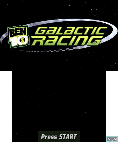 Title screen of the game Ben 10 - Galactic Racing on Nintendo 3DS