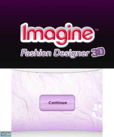 Title screen of the game Imagine Fashion Designer 3D on Nintendo 3DS