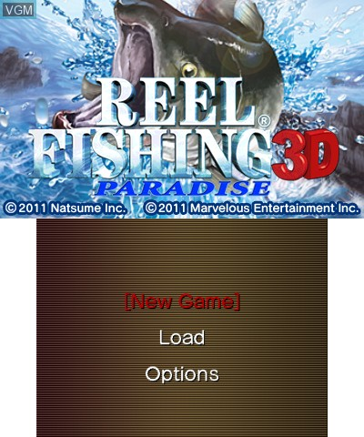 Title screen of the game Reel Fishing Paradise 3D on Nintendo 3DS