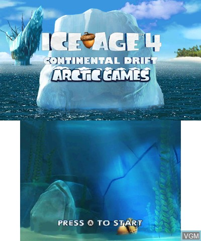 Title screen of the game Ice Age 4 - Continental Drift - Arctic Games on Nintendo 3DS