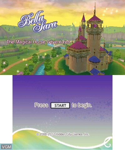 Title screen of the game Bella Sara - The Magical Horse Adventures on Nintendo 3DS