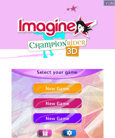 Title screen of the game Imagine - Champion Rider 3D on Nintendo 3DS